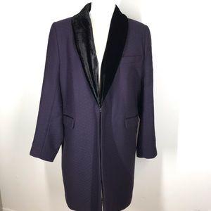 Soft Surroundings Wool Jacquard Fur Coat Jacket M